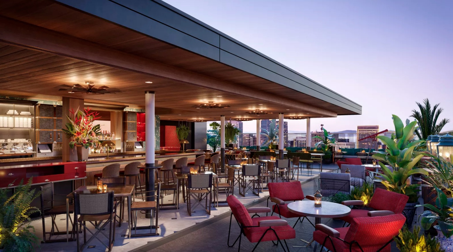 A rendering of the rooftop bar at Virgin's upcoming San Francisco-based hotel