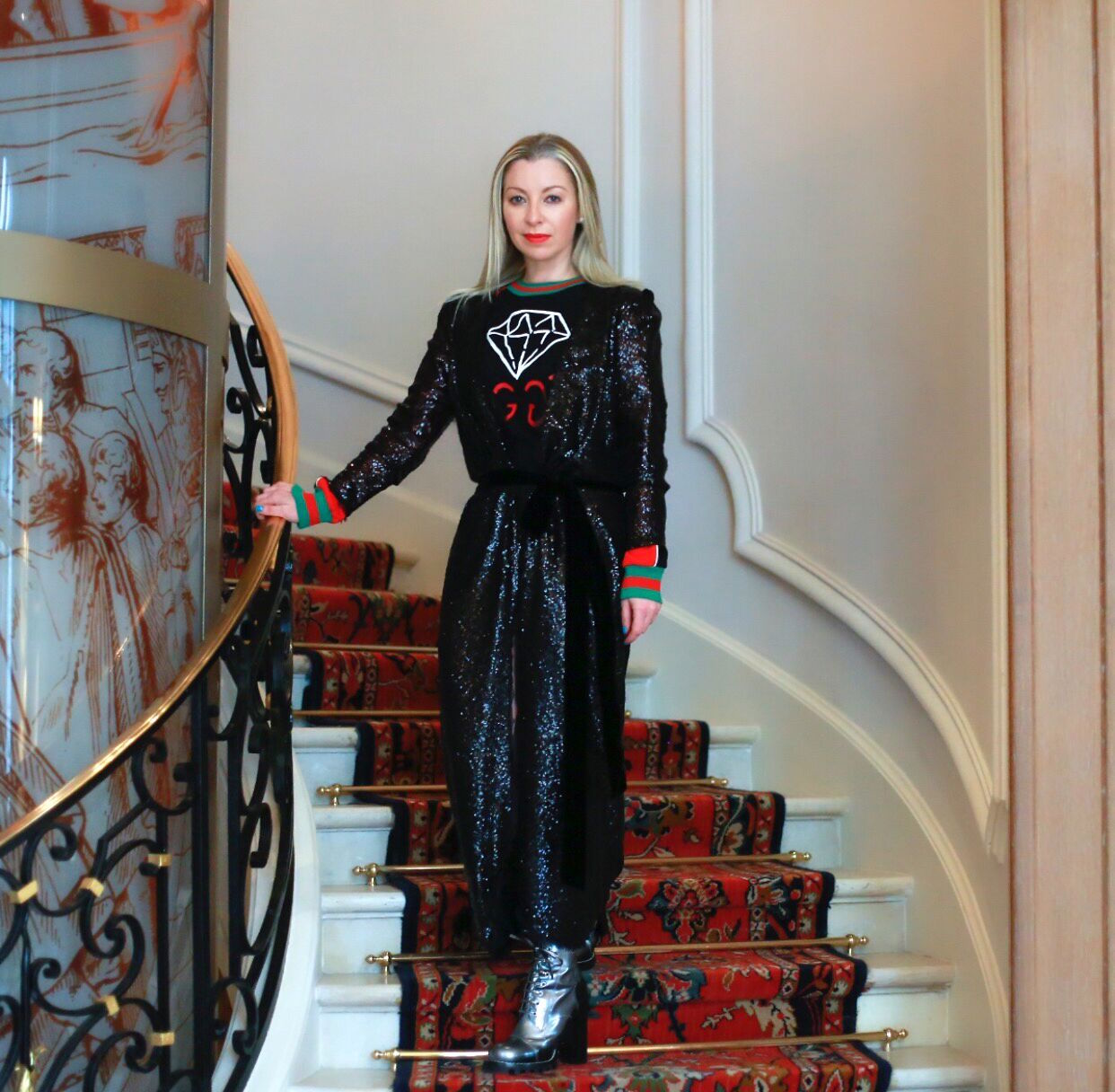 Sonya Molodetskaya on the stairs of the Ritz in Paris