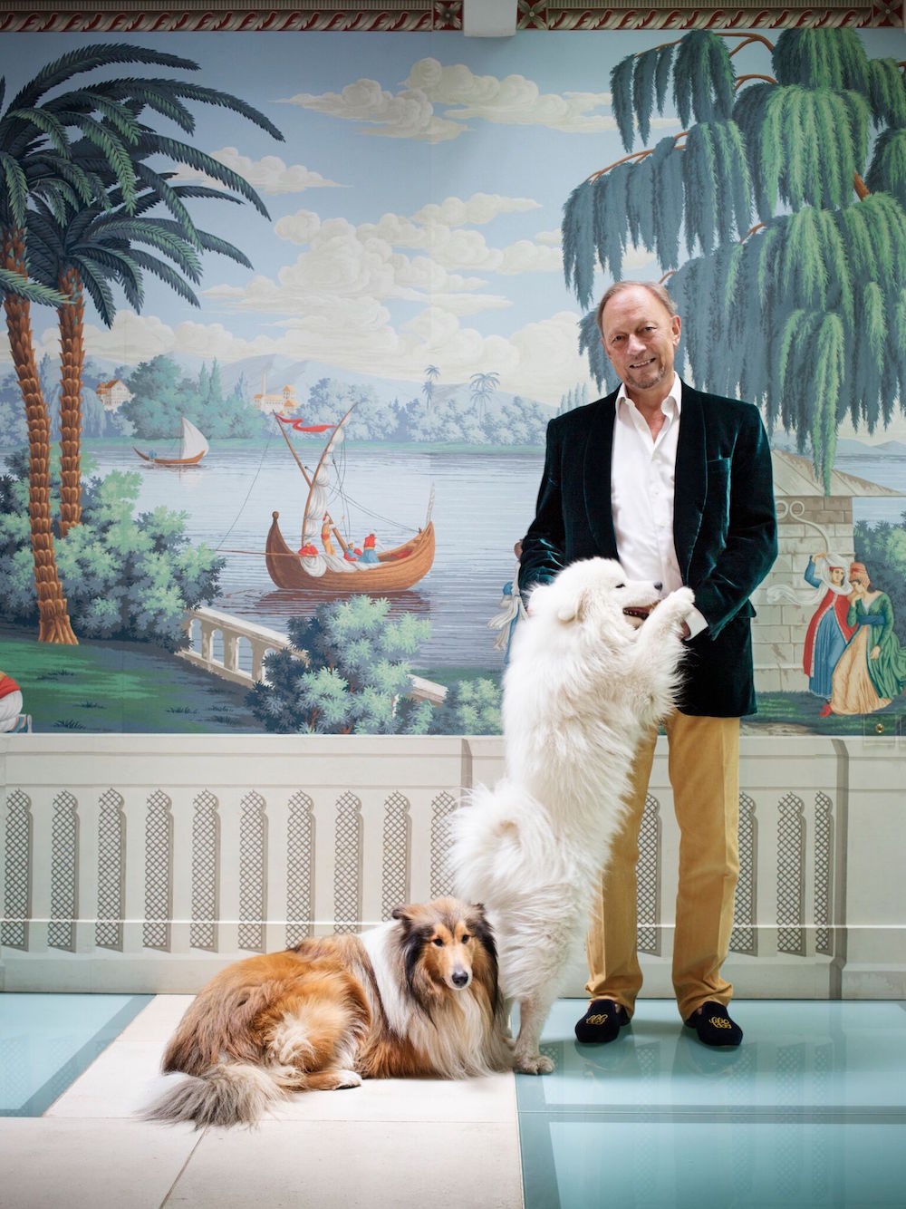 Claud Cecil Gurney with his dogs Jiminey Cricket, lying down, and Olaf