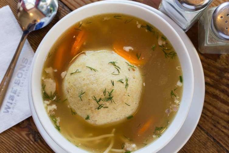 Matzo ball soup at Wise Son's Deli