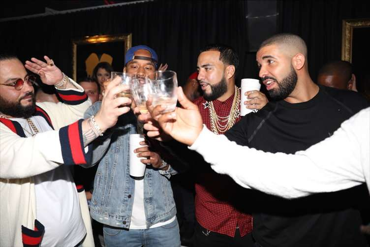 Belly, P Reign, French Montana & Drake toast Belly with Grey Goose VX