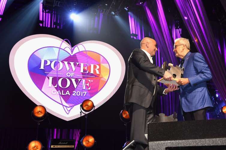 "Former professional tennis player Andre Agassi (L) accepts the Community Achievement Award from Keep Memory Alive Co-Founder and Chairman Larry Ruvo during the 21st annual Keep Memory Alive ""Power of Love Gala"" benefit for the Cleveland Clinic Lou Ruvo Center for Brain Health honoring Ronald O. Perelman at MGM Grand Garden Arena on April 27, 2017 in Las Vegas, Nevada."
