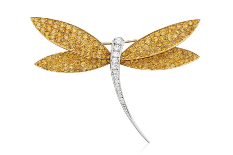 54705906_a.jpg VAN CLEEF & ARPELS DIAMOND AND YELLOW SAPPHIRE DRAGONFLY .._