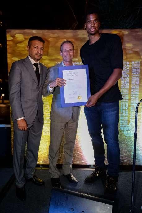 Kamal Hotchandani, Miami Beach Cmommisioner Michael Gireco and Hassan Whiteside at Cipriani Downtown Miami on April 1, 2017 in Miami, Florida.