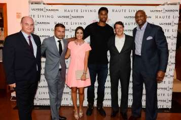 Alain Riguidel, Kamal Hotchandani, Ana Wolfington, Hassan Whiteside, Sean Wolfington and Alonzo Mourning attend the National Autism Day Dinner at Cipriani Downtown Miami on April 1, 2017 in Miami, Florida.