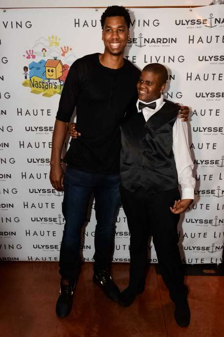 Hassan Whiteside and Nassan Wright-Abubakrr at the National Autism Day Dinner> at Cipriani Downtown Miami on April 1, 2017 in Miami, Florida.