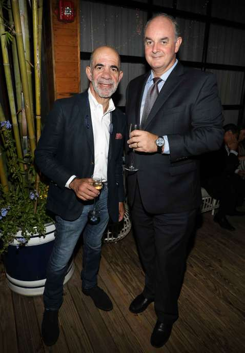 MIAMI, FL - APRIL 6: Alan Zelcer and Alain Riguidel are seen at the Haute Living and Ulysse Nardin Collectors Dinner at Seaspice on April 6, 2017 in Miami, Florida. (Photo by Alexander Tamargo/Getty Images for Haute Living)