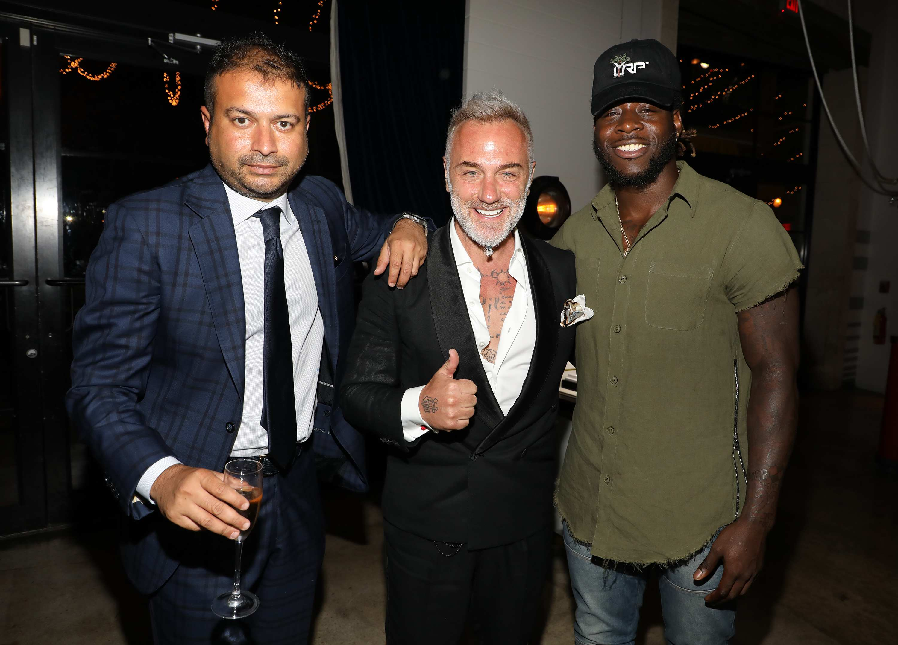 MIAMI, FL - APRIL 6: Kamal Hotchandani, Gianluca Vacchi and Jay Ajayi are seen at the Haute Living and Ulysse Nardin Collectors Dinner at Seaspice on April 6, 2017 in Miami, Florida. (Photo by Alexander Tamargo/Getty Images for Haute Living)