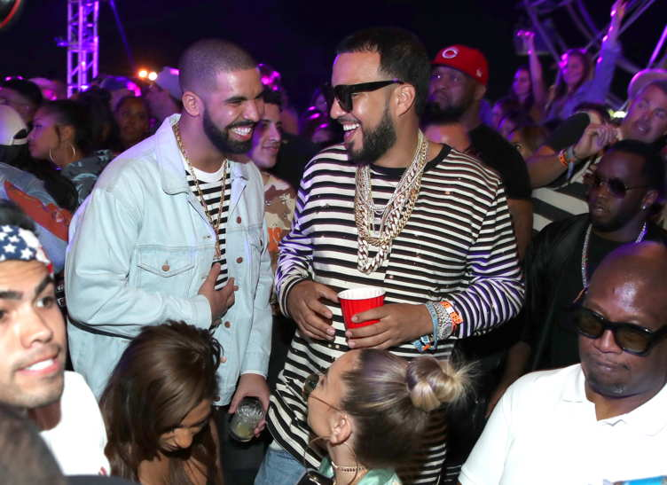 Rappers Drake (L) and French Montana )