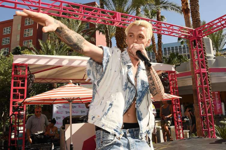 LAS VEGAS, NV - APRIL Aaron Carter performs at Flamingo Go Pool.