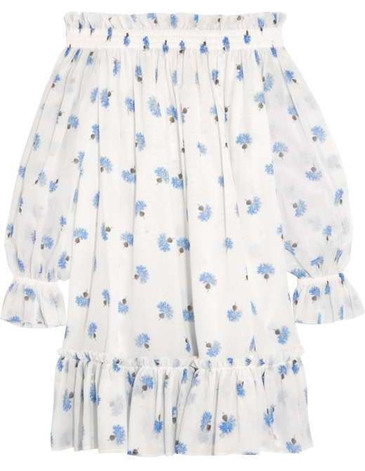 Alexander McQueens off-the-shoulder floral-print cotton-voile mini dress