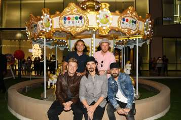 Backstreet Boys pose for pictures in front of carousel