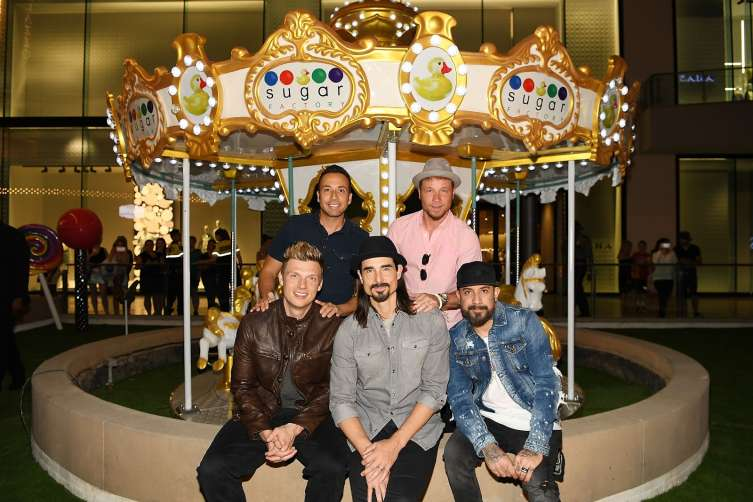 LAS VEGAS, NV - APRIL 20:  (L-R) Singers Nick Carter, Howie Dorough, Kevin Richardson, Brian Littrell and AJ McLean of the Backstreet Boys arrive at Sugar Factory American Brasserie at the Fashion Show mall on April 20, 2017 in Las Vegas, Nevada.  (Photo by Denise Truscello/WireImage)