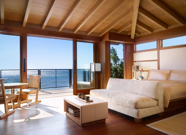 A beachfront room at Nobu Ryokan