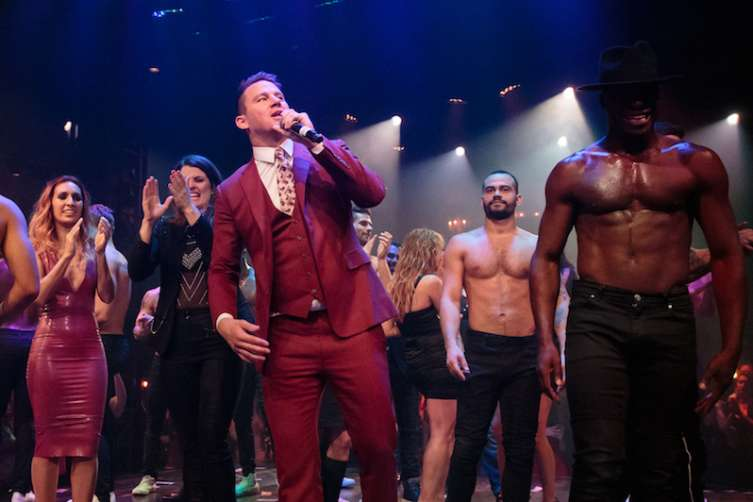 "Channing Tatum talks to the crowd at the opening of ""Magic Mike Live."""