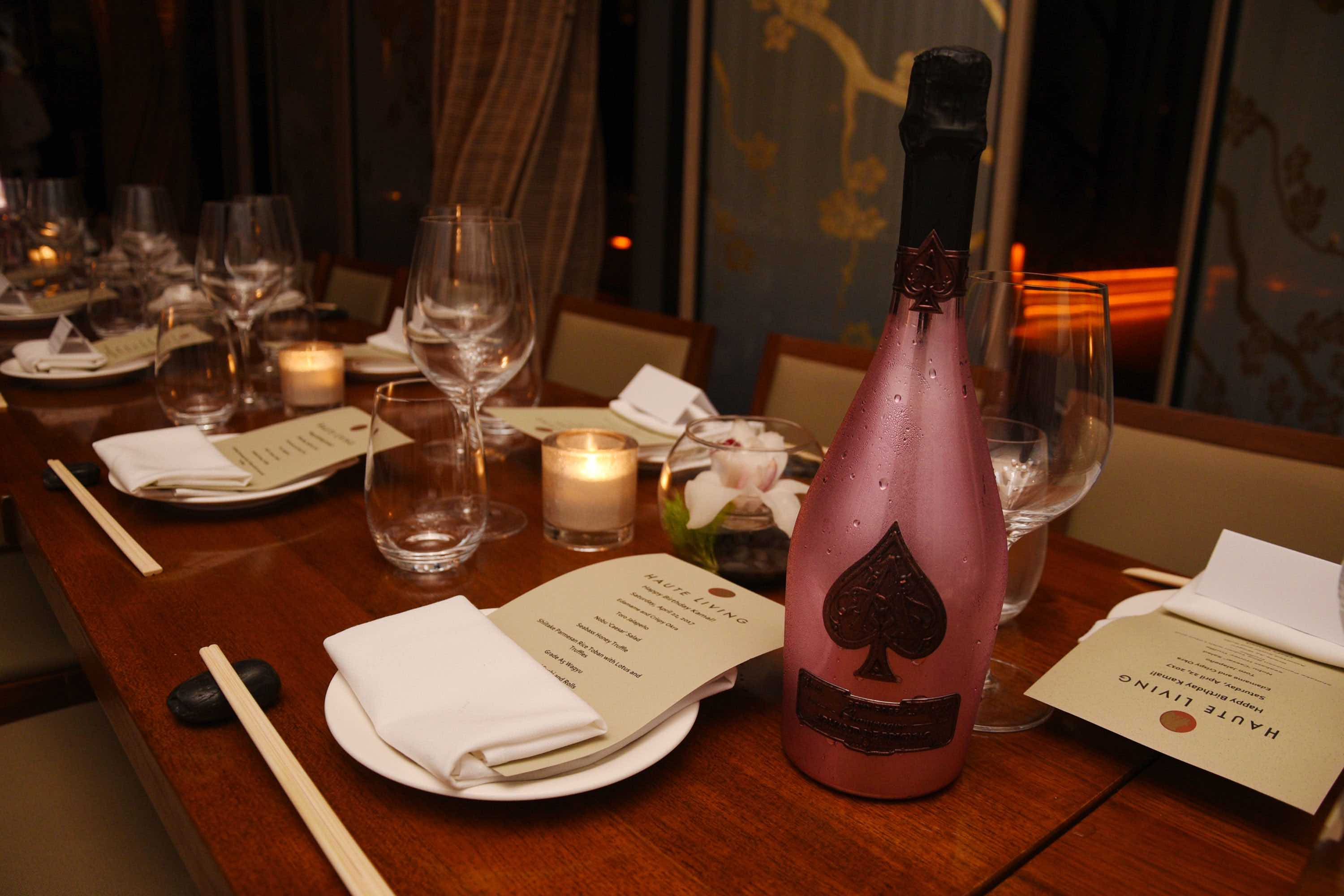 table set up haute living & ace of spades