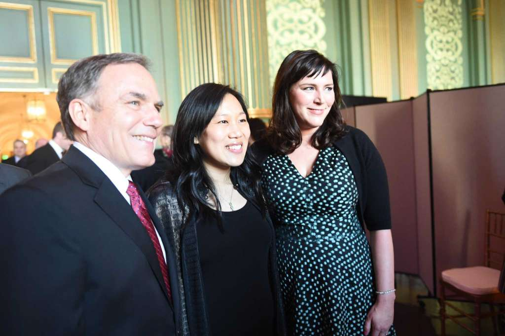 Priscilla Chan, center