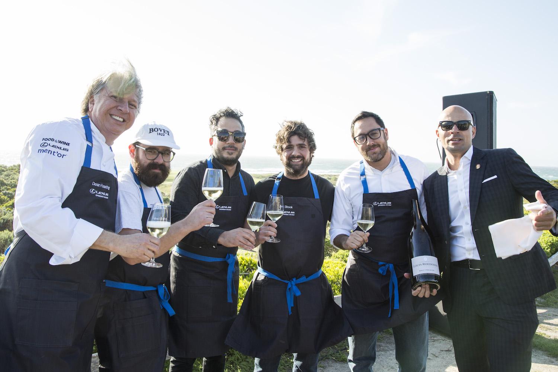 Chefs Dean Faring, Vinny Dotolo, Carlo Mirarchi, Jon Shook, Christopher Kostow, and sommelier, Carlton McCoy