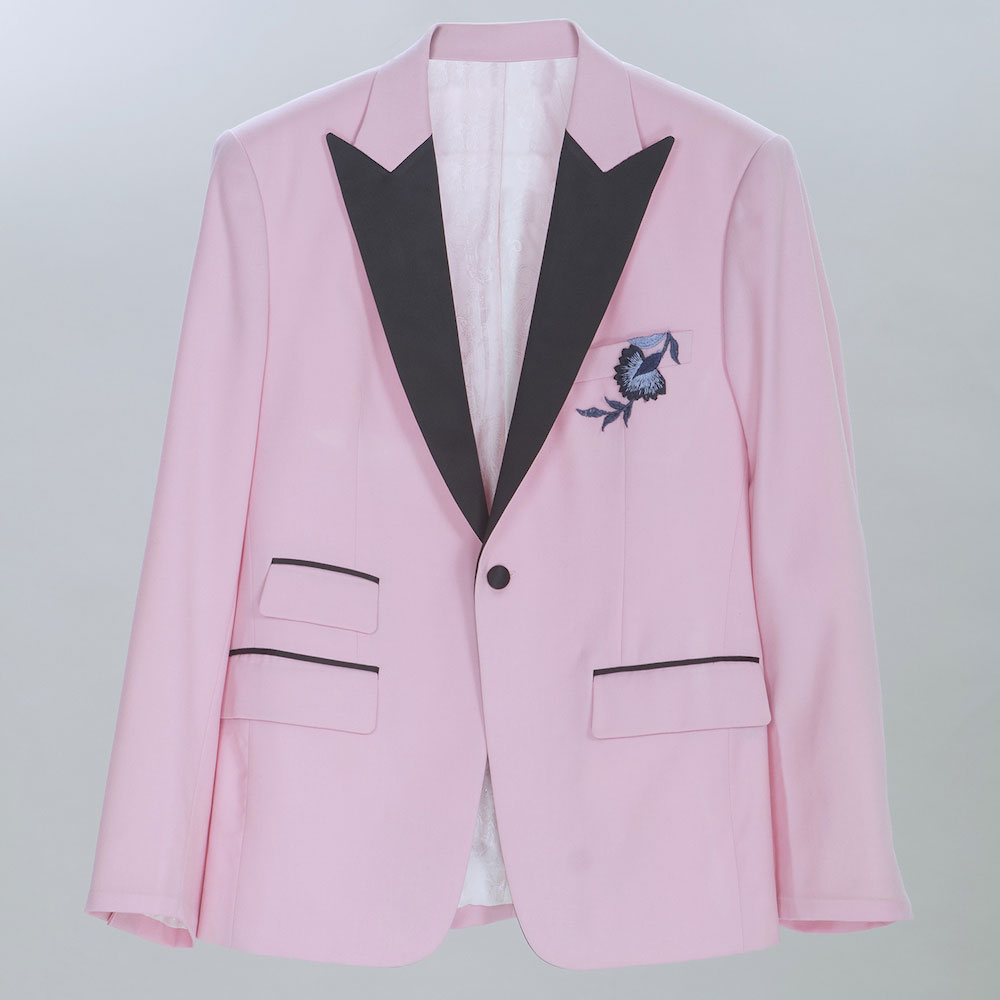Pink single breasted short tuxedo by Jake