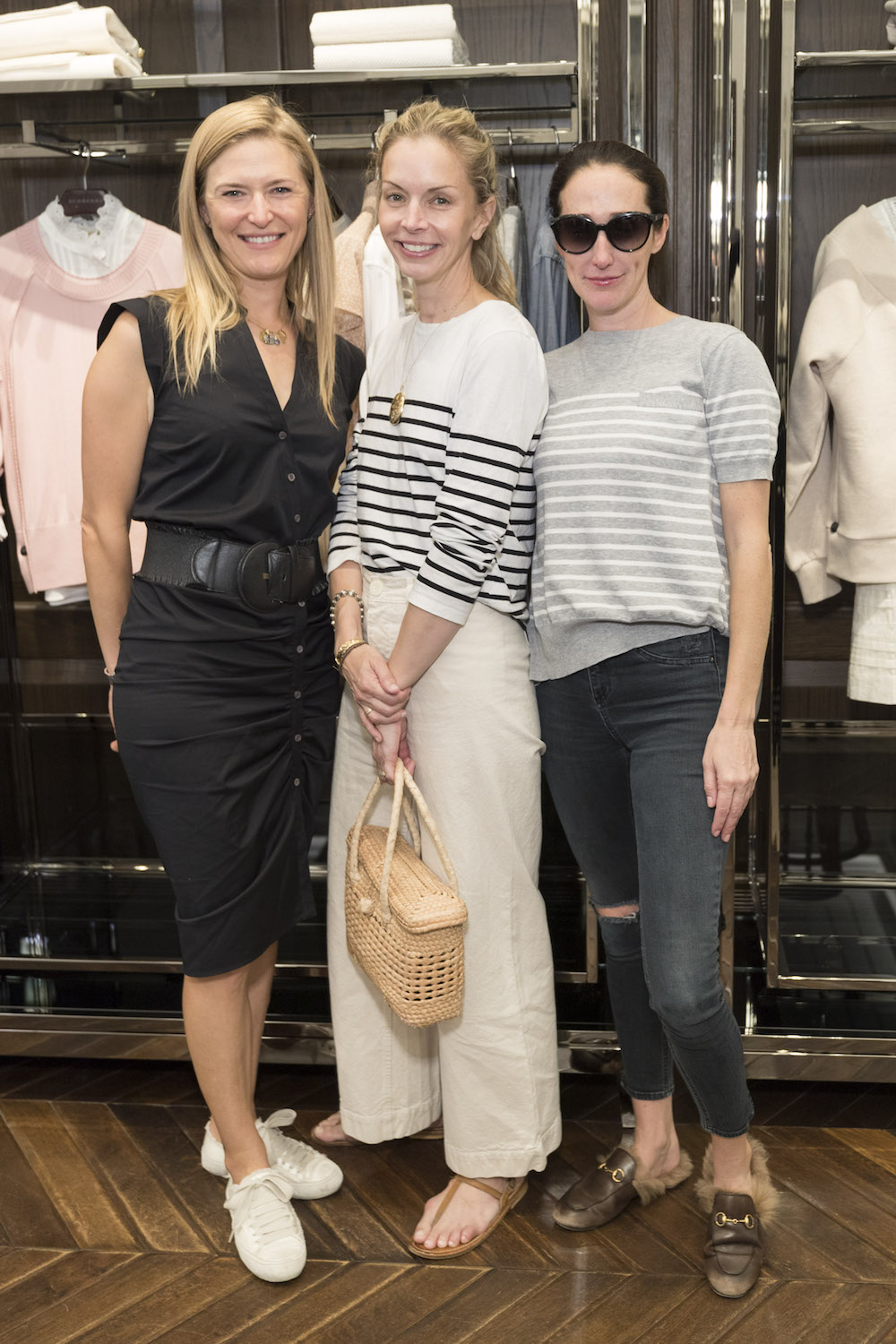 Alicia Engstrom, Meredith Melling and Kathryn Retzer attend the Burberry SF launch of 'Party Girls Die in Pearls'