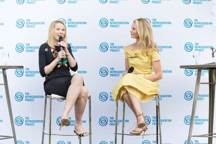 SAN FRANCISCO, CA - May 16 -  Marissa Mayer and Jennifer Siebel Newsom attend Representation Project In Conversation With Jennifer Siebel Newsom on May 16th 2017 at Marin Art and Garden Center in San Francisco, CA (Photo - Drew Altizer)