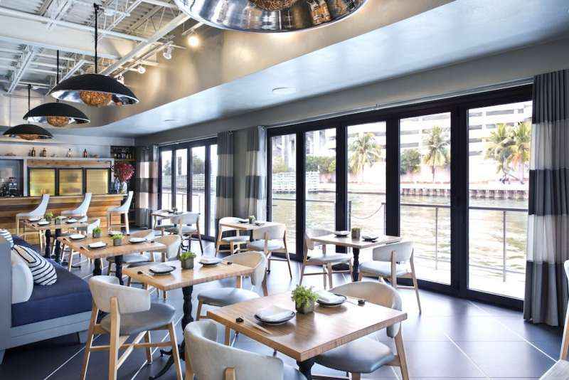 Interiors of Dashi restaurant at the River Yacht Club on the Miami River, Downtown Miami