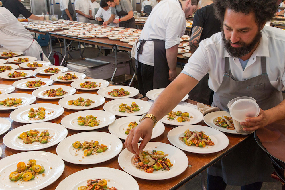 Chef Ravi Kapur plates one of the courses at last year's Meals on Wheels Gala