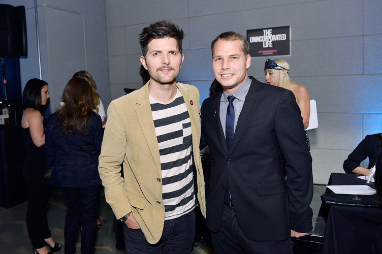 Adam Scott and Shepard Fairey attend P.S. ARTS' the pARTy! 2017 at NeueHouse Hollywood on May 4