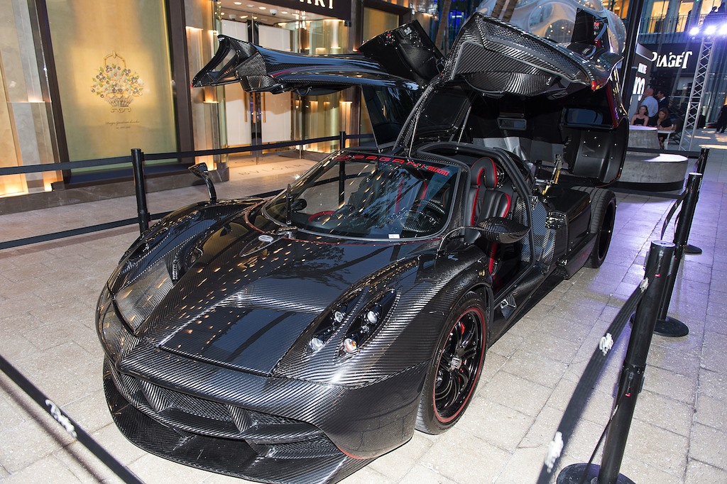 MIAMI, FL - MAY 16: Pagani Luxury sport car at Haute Living Miami's Annual Haute 100 Dinner Presented By Hublot And Prestige Imports at Miami Design District Palm Court on May 16, 2017 in Miami, Florida. (Photo by Romain Maurice/Getty Images for Haute Living)