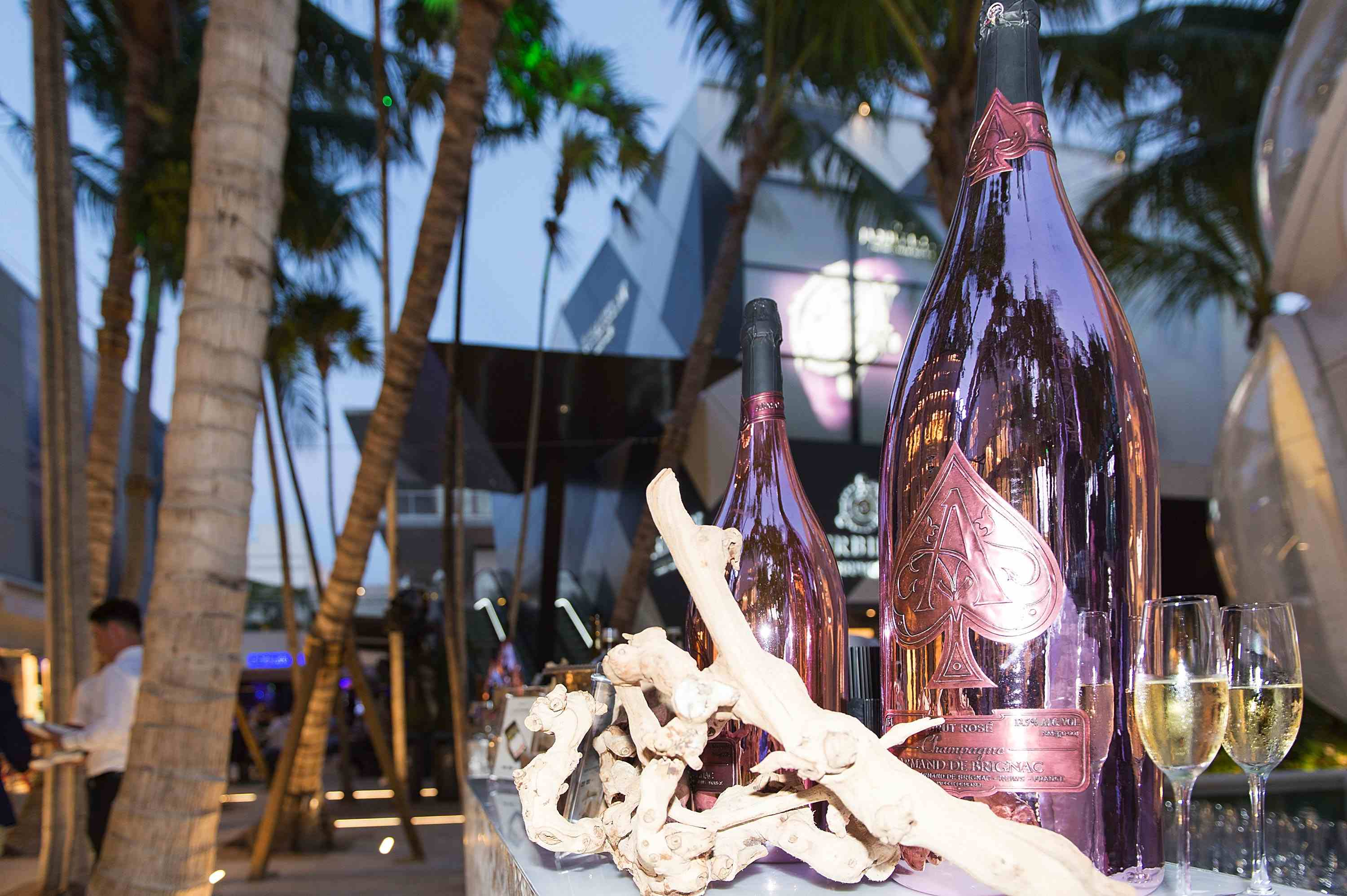 MIAMI, FL - MAY 16: Armand de Brignac champagne bottle at Haute Living Miami's Annual Haute 100 Dinner Presented By Hublot And Prestige Imports at Miami Design District Palm Court on May 16, 2017 in Miami, Florida.