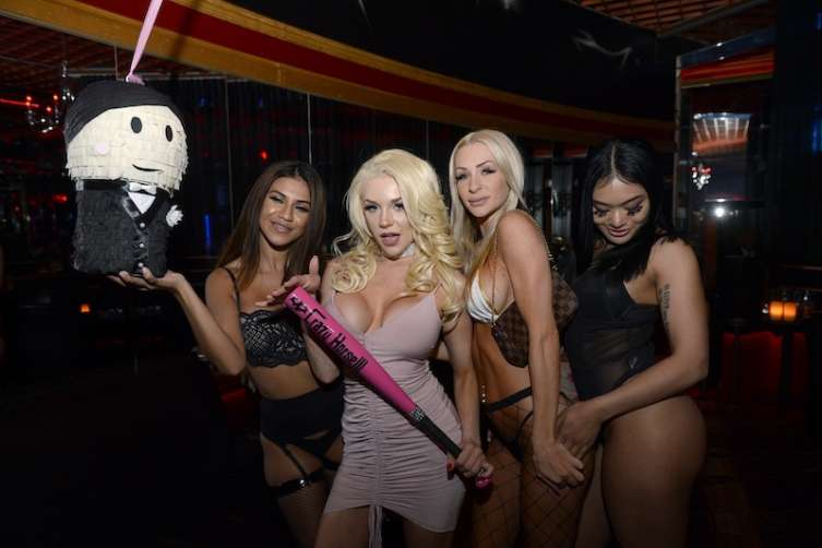 Courtney Stodden with her divorce pinata at Crazy Horse III.