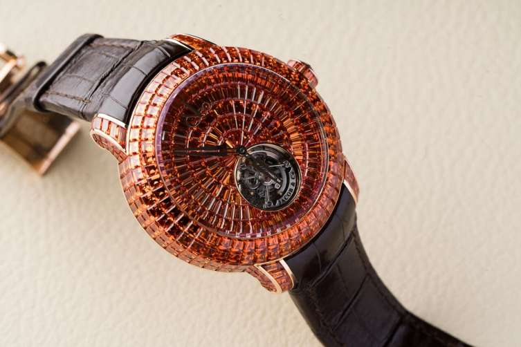A very complicated setting on this tourbillon by Jacob & Co