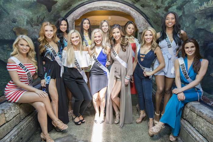 Miss USA contestants check out the Shark Reef at Mandalay Bay.