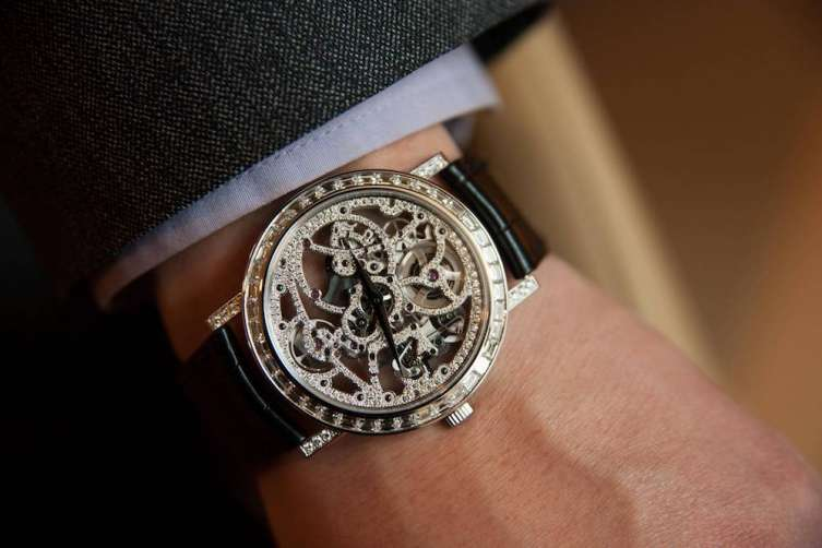 Piaget is one of the few brands that can even set diamonds on the bridges of a skeleton movement