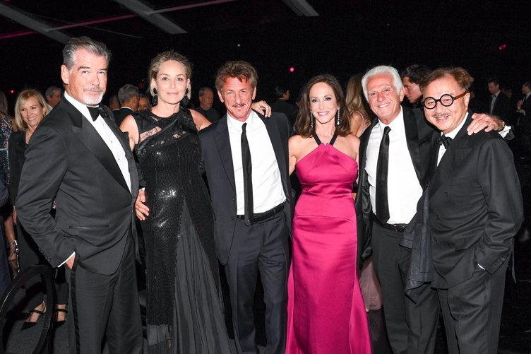 Pierce Brosnan, Sharon Stone, Sean Penn, Lilly Tartikoff Karatz, Maurice Marciano, Michael Chow