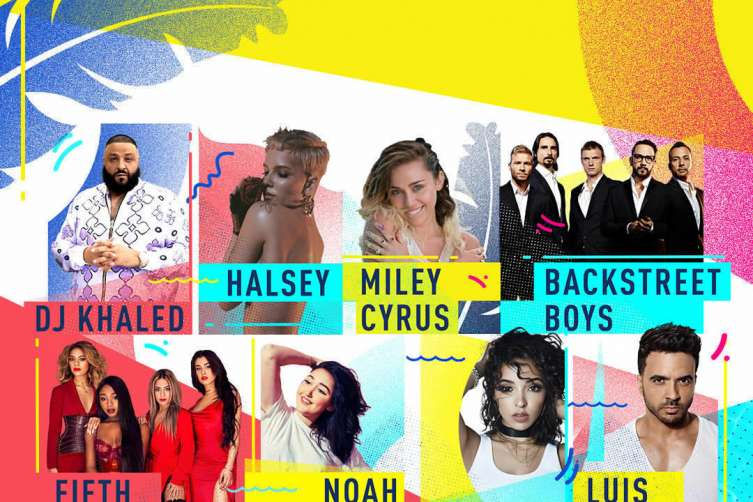 iHeartSummer '17 Pool Party x Fontainebleau Miami Beach Guest Lineup: DJ Khaled, Miley Cyrus, Luis Fonsi, Noah Cyrus, Backstreet Boys, Fifth Harmony, Halsey, Tinashei