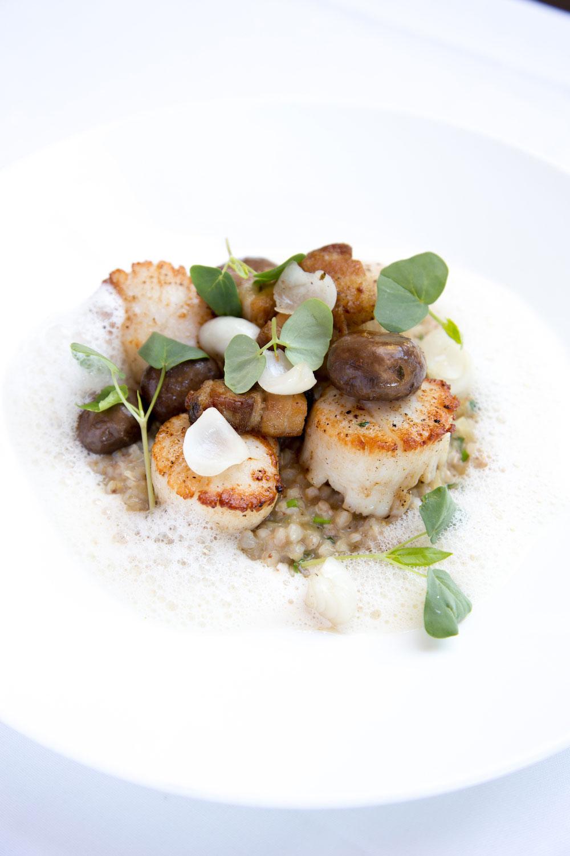 A scallop dish prepared by chef Mark Dommen