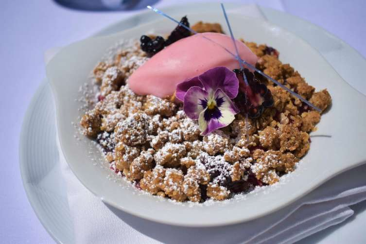 Blackberry rhubarb crisp from Spago's lunch menu.