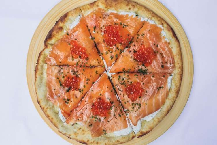 Spago's delicious house-smoked salmon pizza