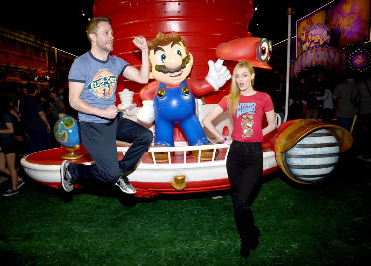 Comedian Chris Hardwick and model Lydia Hearst visit the Nintendo booth at the 2017 E3 Gaming Convention at Los Angeles Convention Center on June 13