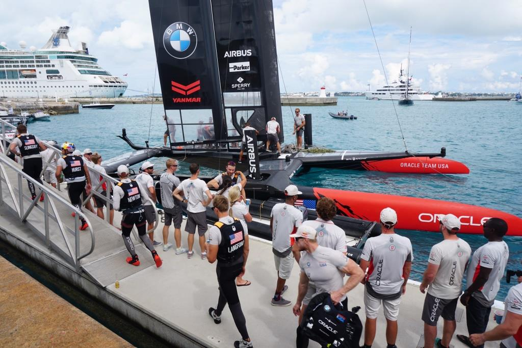 Oracle Team USA crew returned to home base after losing the race. / Image courtesy of Olivia Hsu Decker