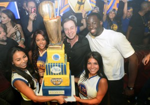 Draymond Green and Joseph Lacob celebrate at Jewel Nightclub.