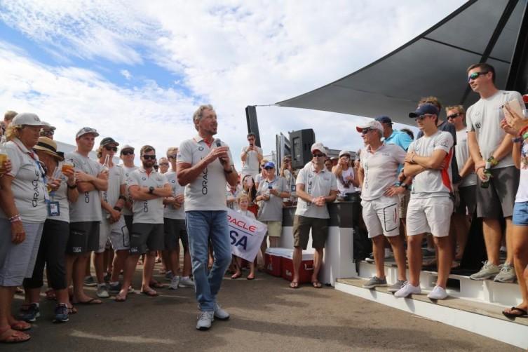 Larry Ellison addressed Team Oracle fans after the race.