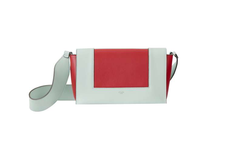 Medium Frame bag in jade and bright red shiny smooth calfskin