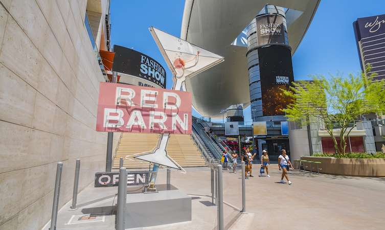 The Neon Museum's Red Barn sign now stands at the plaza at Fashion Show.