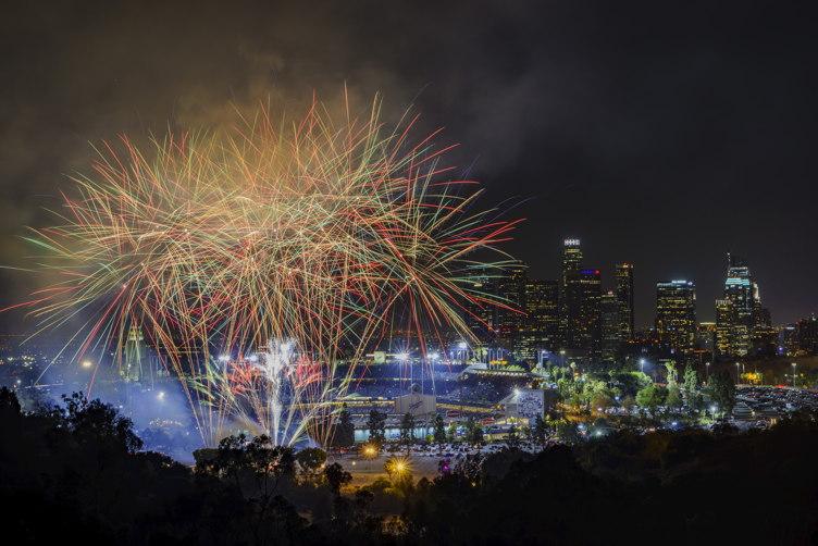 Fireworks over Dodger Stadium