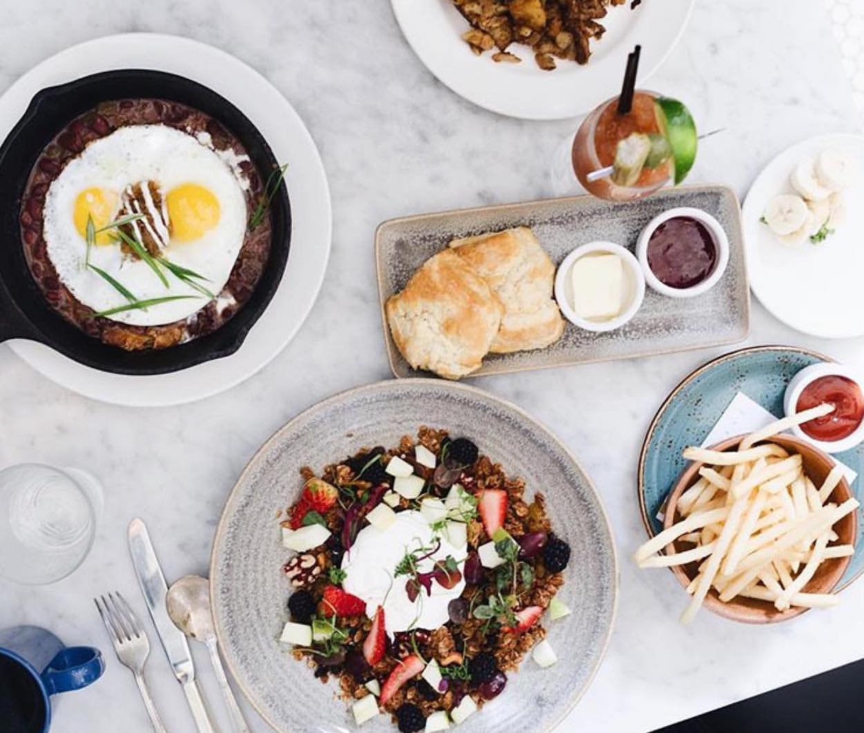 A spread of eats at Elite Cafe