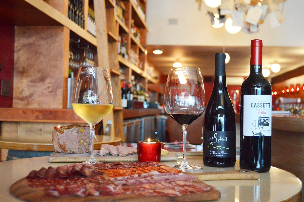 Wine and charcuterie at Amelie