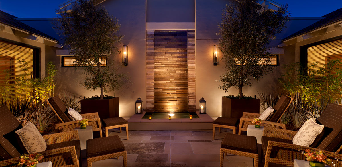The outdoor courtyard at the spa at Rosewood Sand Hill