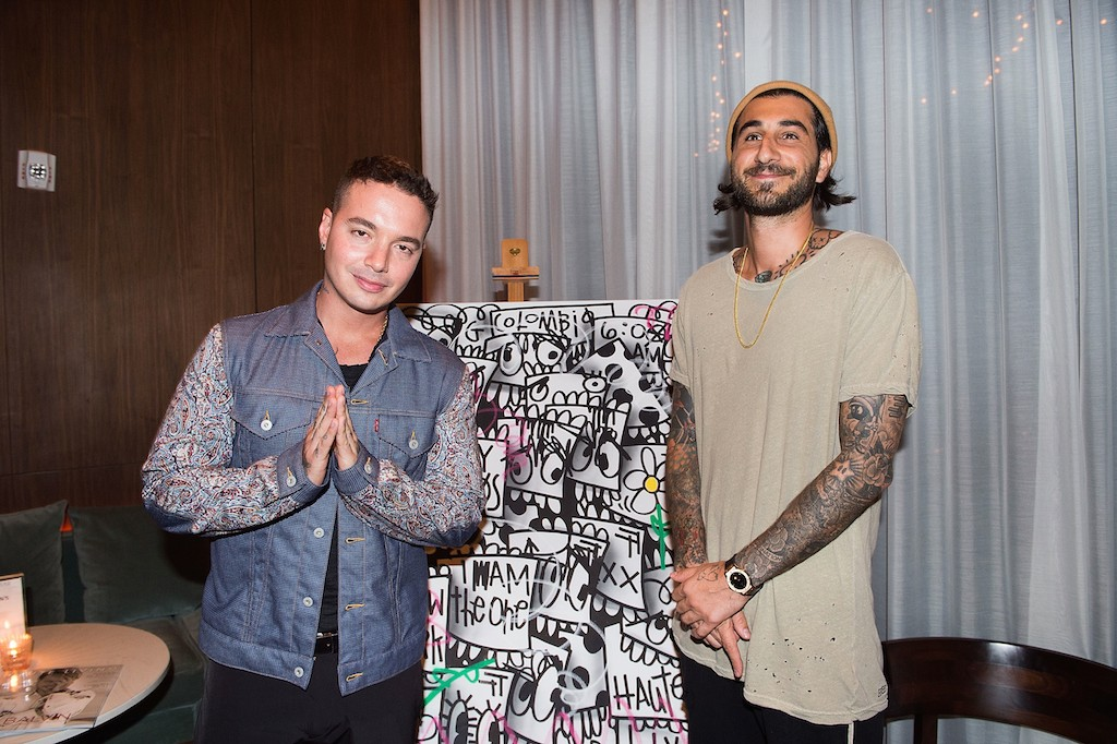 MIAMI BEACH, FL - JULY 05: J Balvin and Flore attend Haute Living Celebrates J Balvin At Matador Room At The Miami Beach Edition With Buchanan's Whisky